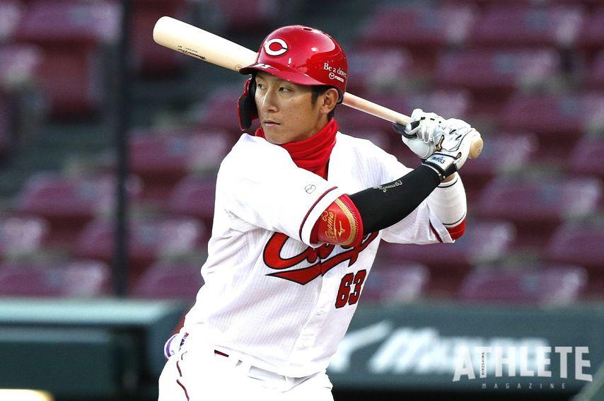 "<div class=""caption"">カープ打線のキーマンとして活躍する西川龍馬選手。</div>"