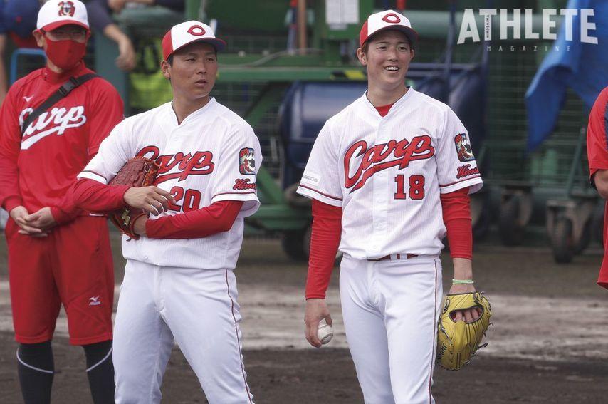 "<div class=""caption"">今季のカープ投手陣を支える、森下暢仁投手(右)と栗林良吏投手。</div>"