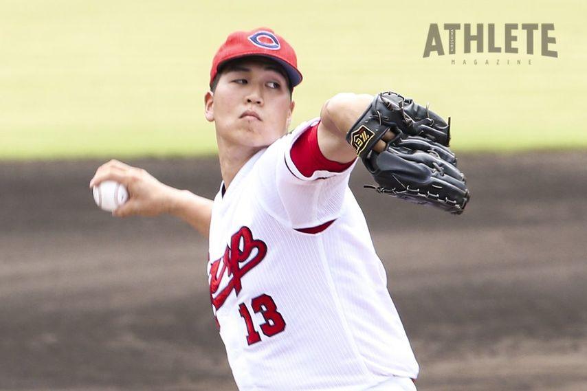 """<div class=""""caption"""">二軍で好投を続けていた矢崎投手。力強い直球を武器に一軍でのブレイクを目指す。</div>"""